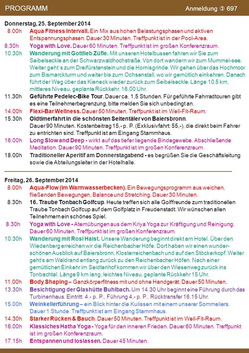 PROGRAMM Anmeldung  697 Donnerstag, 25. September 2014