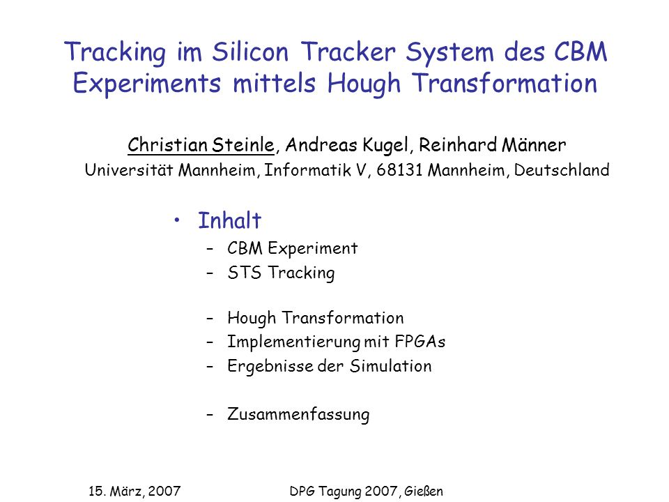 Tracking im Silicon Tracker System des CBM Experiments mittels Hough Transformation