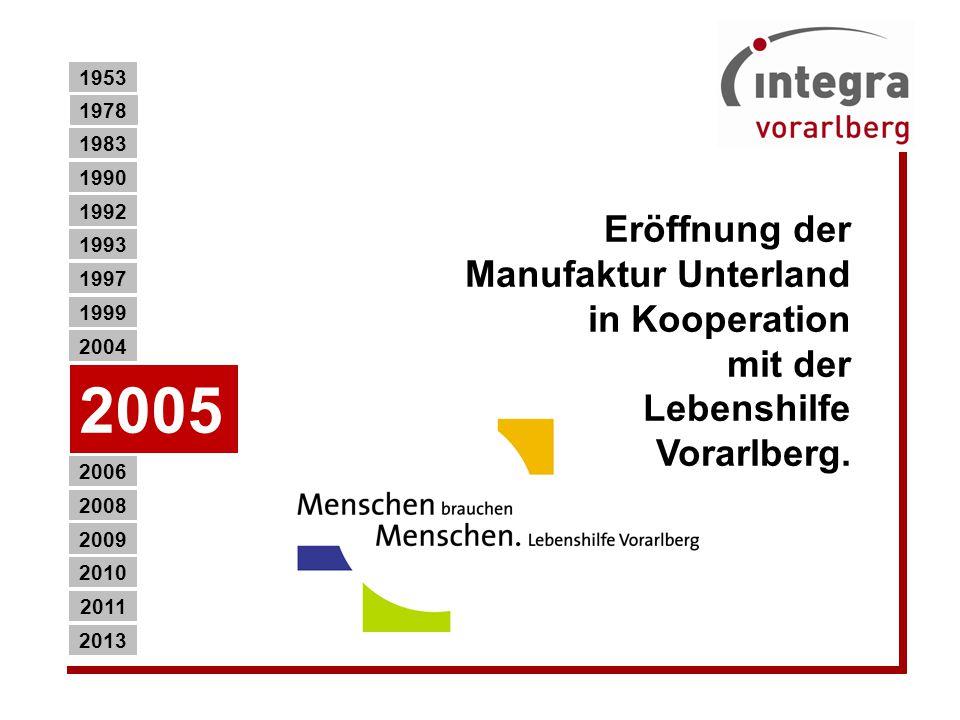 1953 1978. 1983. 1990. Eröffnung der Manufaktur Unterland in Kooperation mit der Lebenshilfe Vorarlberg.