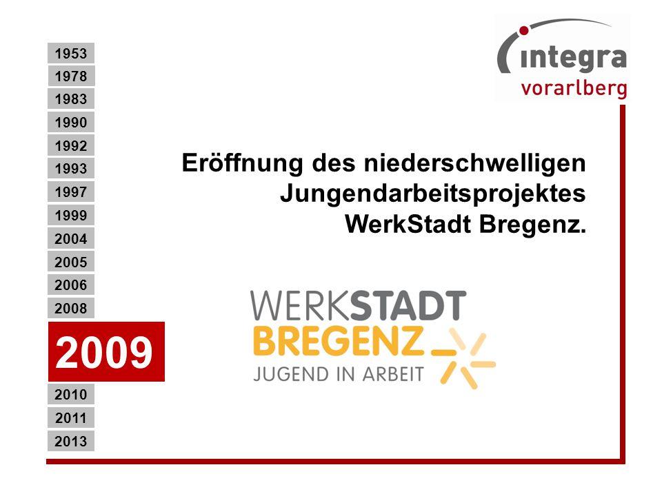 1953 1978. 1983. 1990. Eröffnung des niederschwelligen Jungendarbeitsprojektes WerkStadt Bregenz.