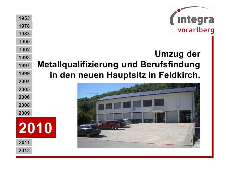 1953 1978. 1983. 1990. Umzug der Metallqualifizierung und Berufsfindung in den neuen Hauptsitz in Feldkirch.