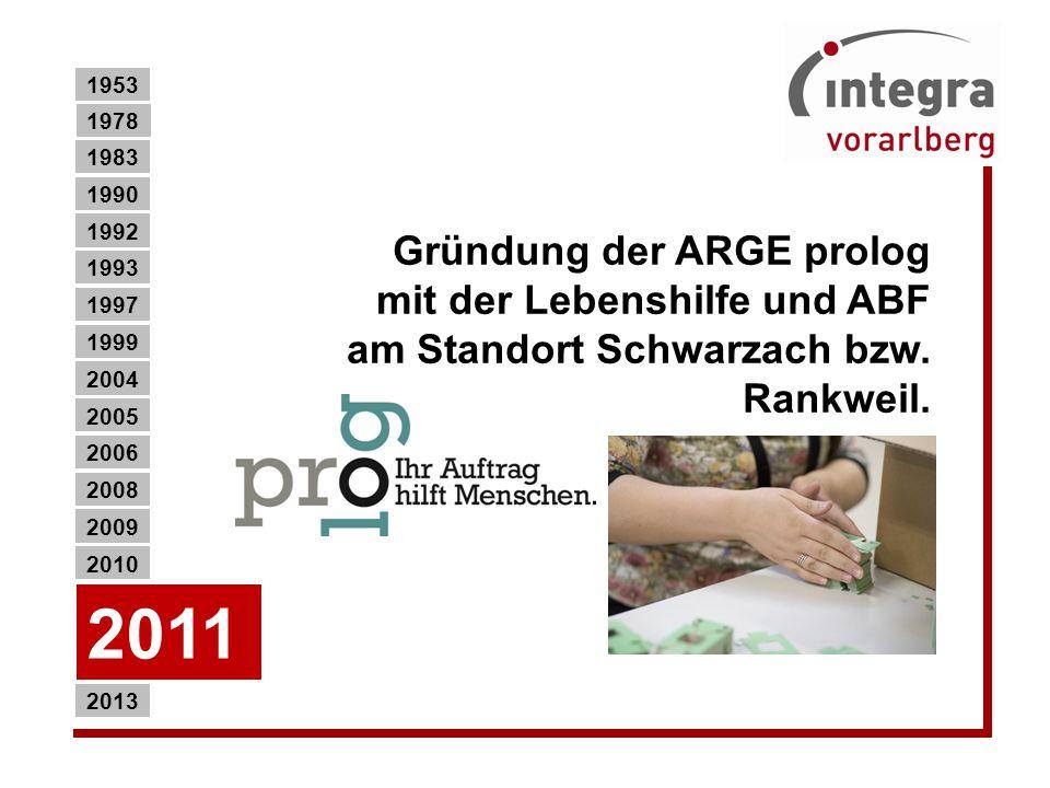 1953 1978. 1983. 1990. Gründung der ARGE prolog mit der Lebenshilfe und ABF am Standort Schwarzach bzw. Rankweil.
