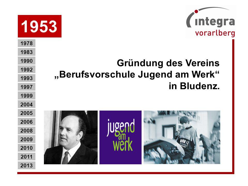 """1953 Gründung des Vereins """"Berufsvorschule Jugend am Werk in Bludenz."""