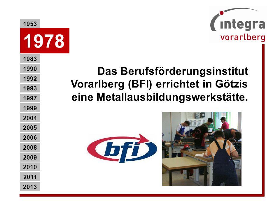 1953 1978. Das Berufsförderungsinstitut Vorarlberg (BFI) errichtet in Götzis eine Metallausbildungswerkstätte.