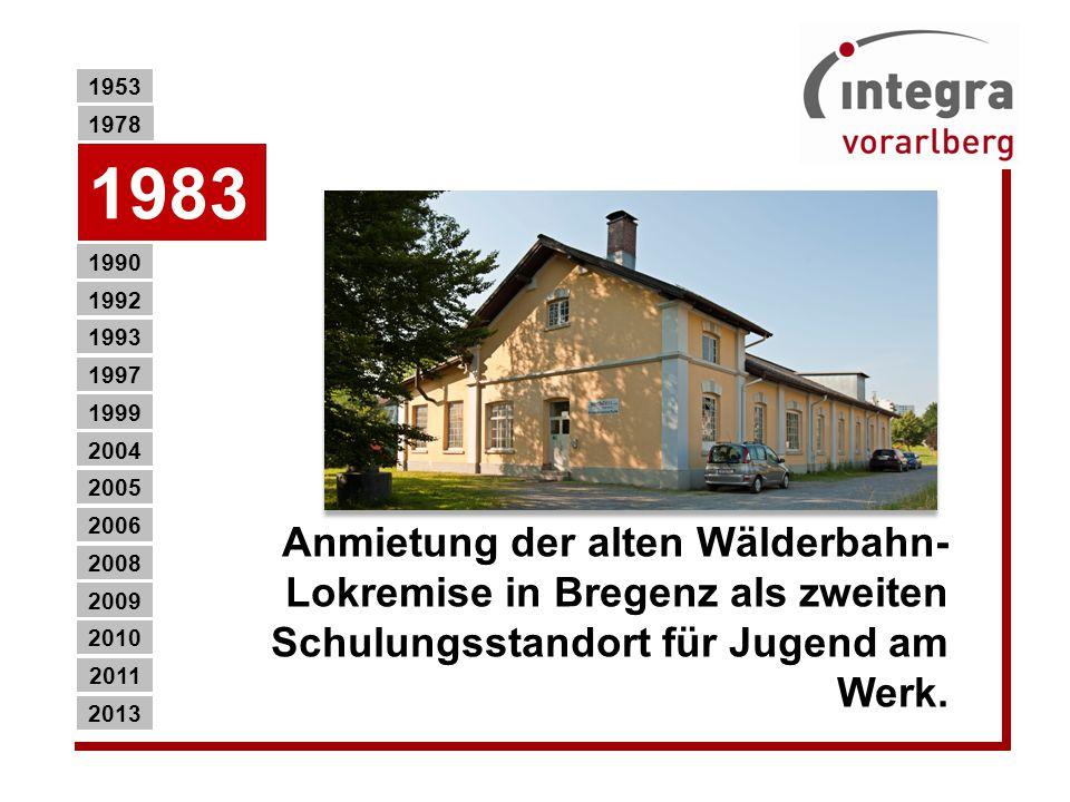 1953 1978. 1983. Anmietung der alten Wälderbahn-Lokremise in Bregenz als zweiten Schulungsstandort für Jugend am Werk.