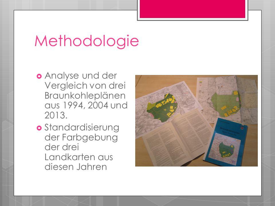 Methodologie Analyse und der Vergleich von drei Braunkohleplänen aus 1994, 2004 und 2013.