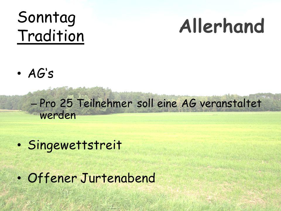 Allerhand Sonntag Tradition AG's Singewettstreit Offener Jurtenabend