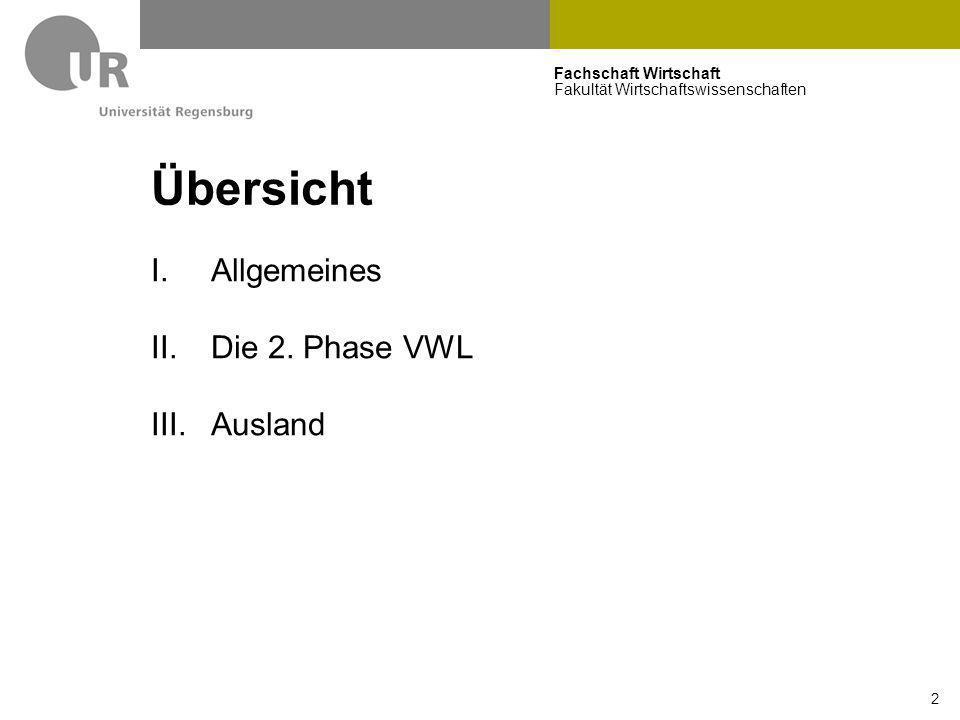 Übersicht Allgemeines Die 2. Phase VWL Ausland