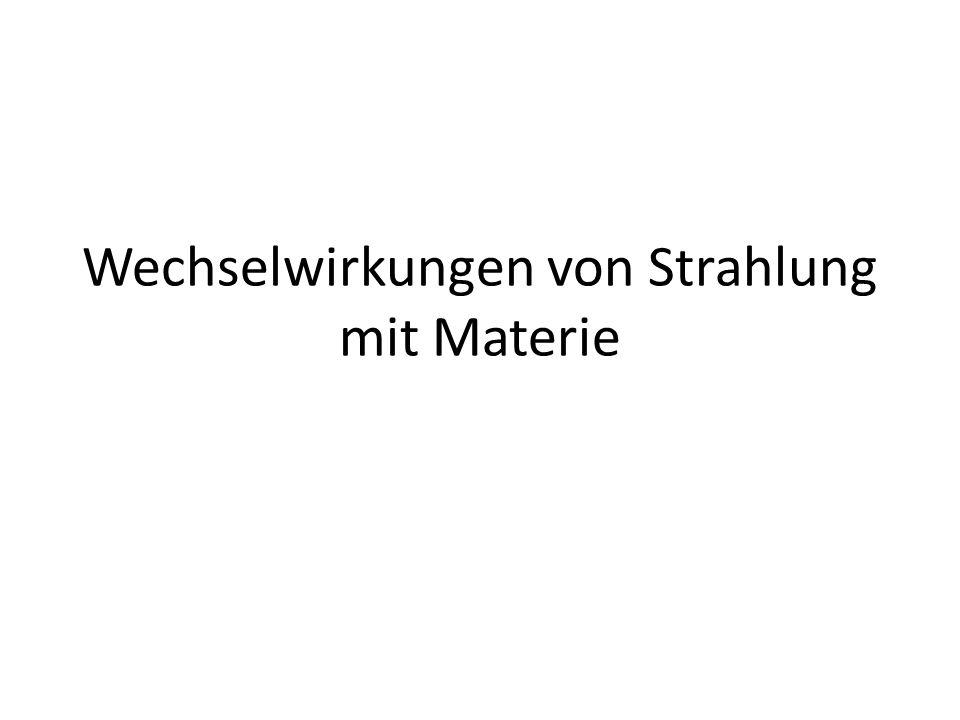 Wechselwirkungen von Strahlung mit Materie