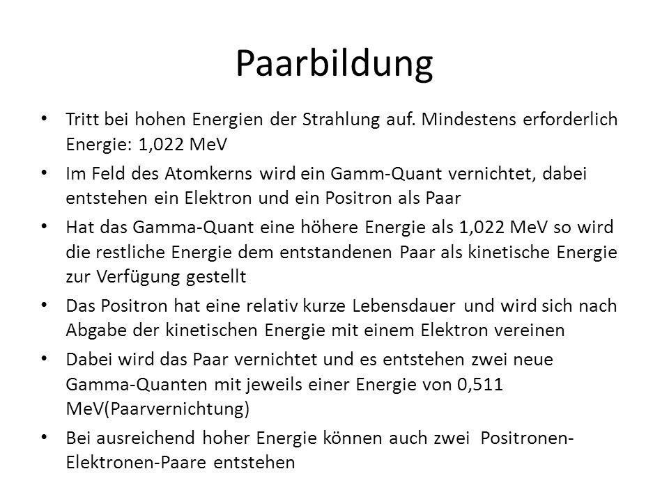 Paarbildung Tritt bei hohen Energien der Strahlung auf. Mindestens erforderlich Energie: 1,022 MeV.