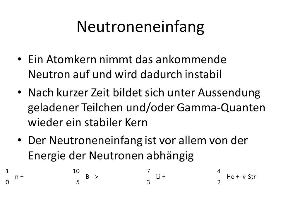 Neutroneneinfang Ein Atomkern nimmt das ankommende Neutron auf und wird dadurch instabil.
