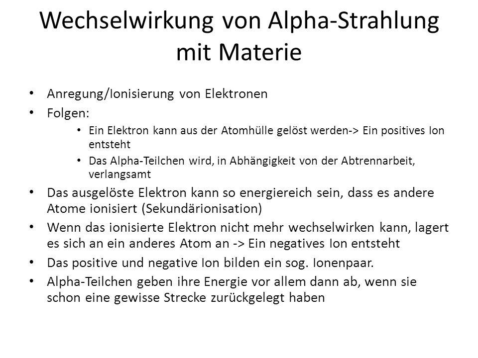 Wechselwirkung von Alpha-Strahlung mit Materie