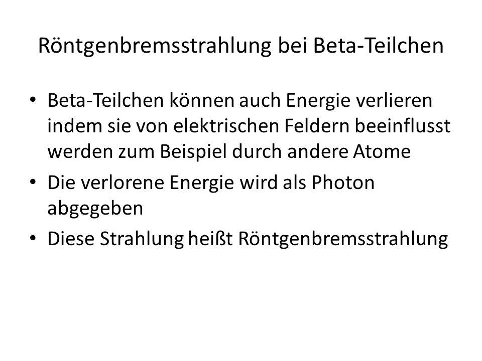 Röntgenbremsstrahlung bei Beta-Teilchen
