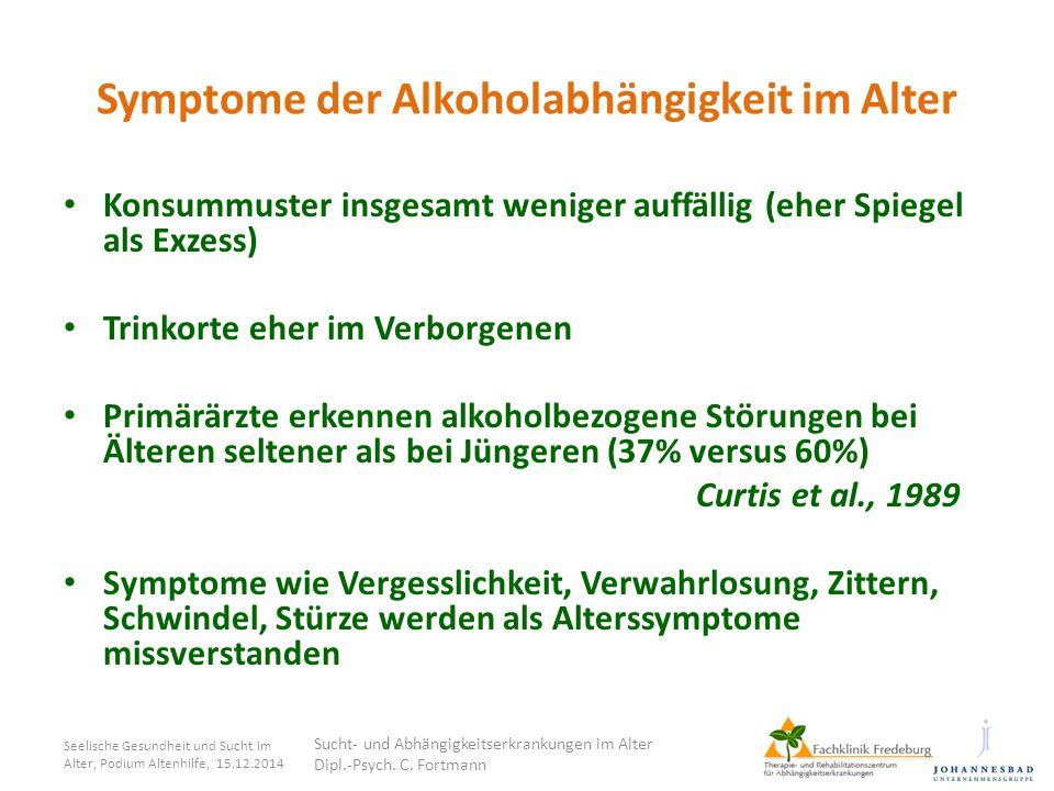 Symptome der Alkoholabhängigkeit im Alter