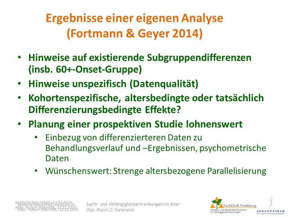 Ergebnisse einer eigenen Analyse (Fortmann & Geyer 2014)