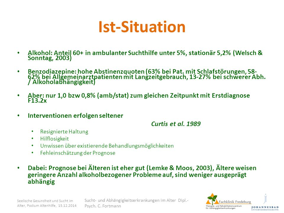 Ist-Situation Alkohol: Anteil 60+ in ambulanter Suchthilfe unter 5%, stationär 5,2% (Welsch & Sonntag, 2003)