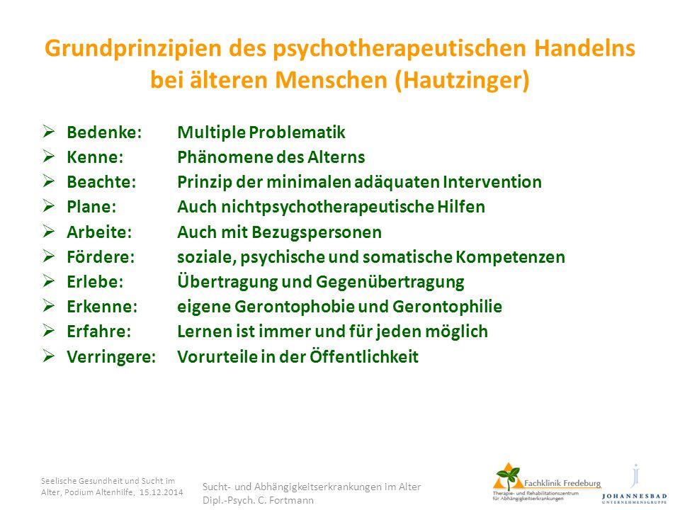 Grundprinzipien des psychotherapeutischen Handelns bei älteren Menschen (Hautzinger)