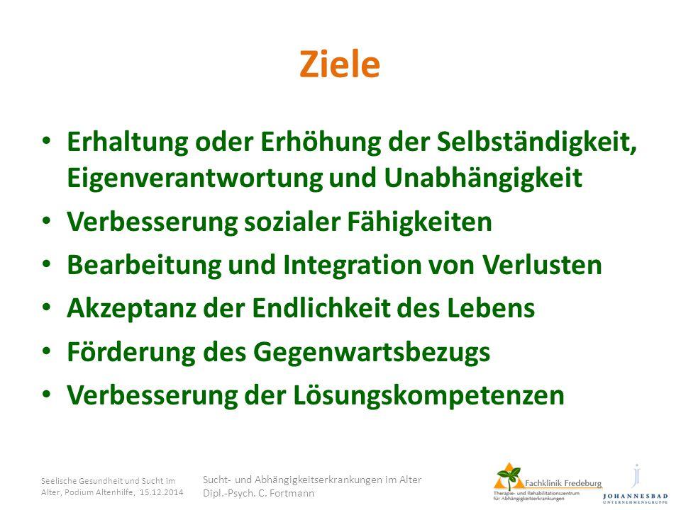 Ziele Erhaltung oder Erhöhung der Selbständigkeit, Eigenverantwortung und Unabhängigkeit. Verbesserung sozialer Fähigkeiten.