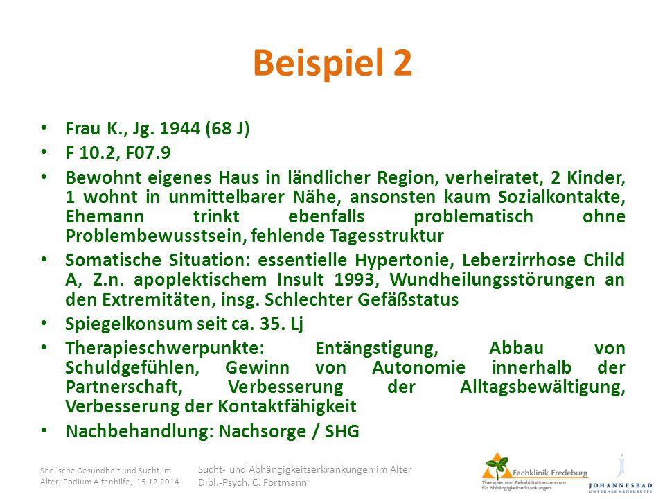 Beispiel 2 Frau K., Jg. 1944 (68 J) F 10.2, F07.9