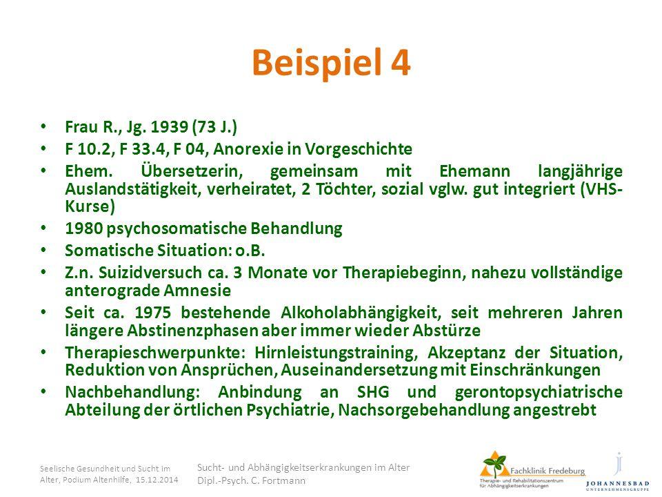 Beispiel 4 Frau R., Jg. 1939 (73 J.) F 10.2, F 33.4, F 04, Anorexie in Vorgeschichte.