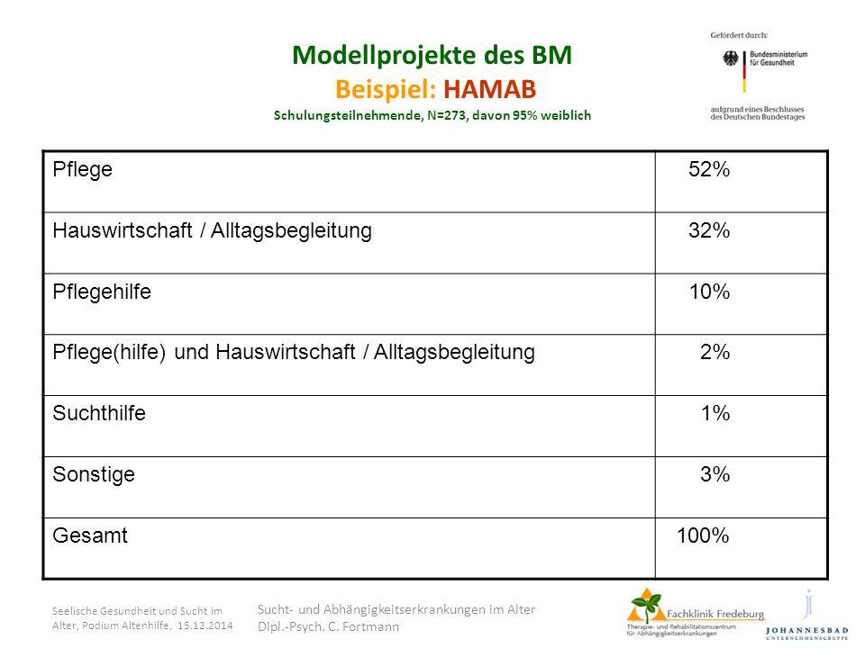 Modellprojekte des BM Beispiel: HAMAB Schulungsteilnehmende, N=273, davon 95% weiblich