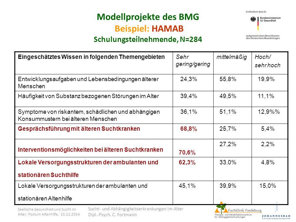 Modellprojekte des BMG Beispiel: HAMAB Schulungsteilnehmende, N=284