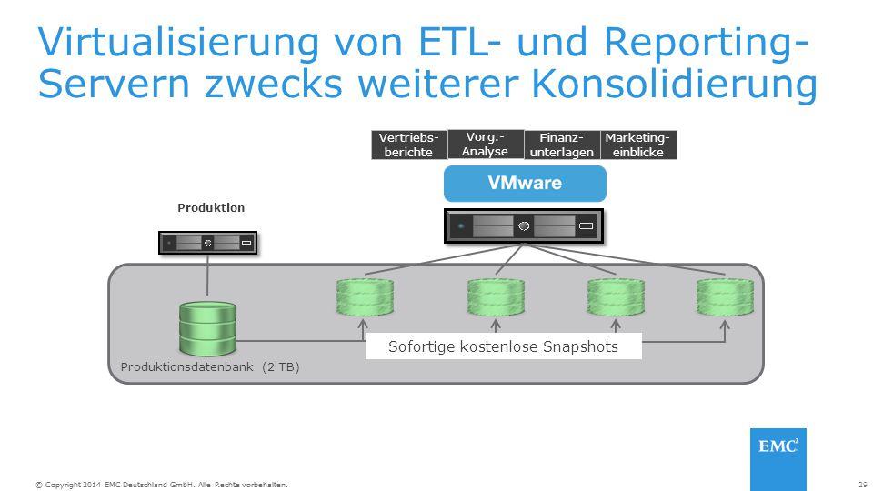 Virtualisierung von ETL- und Reporting-Servern zwecks weiterer Konsolidierung