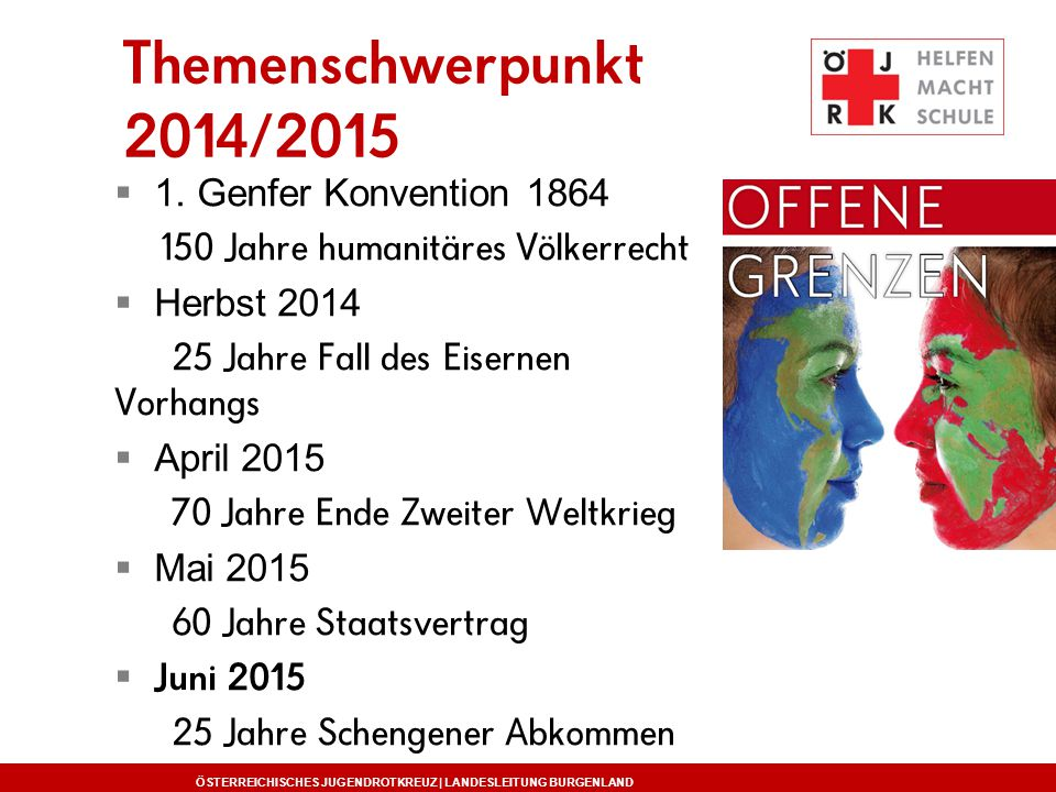 Themenschwerpunkt 2014/2015 1. Genfer Konvention 1864