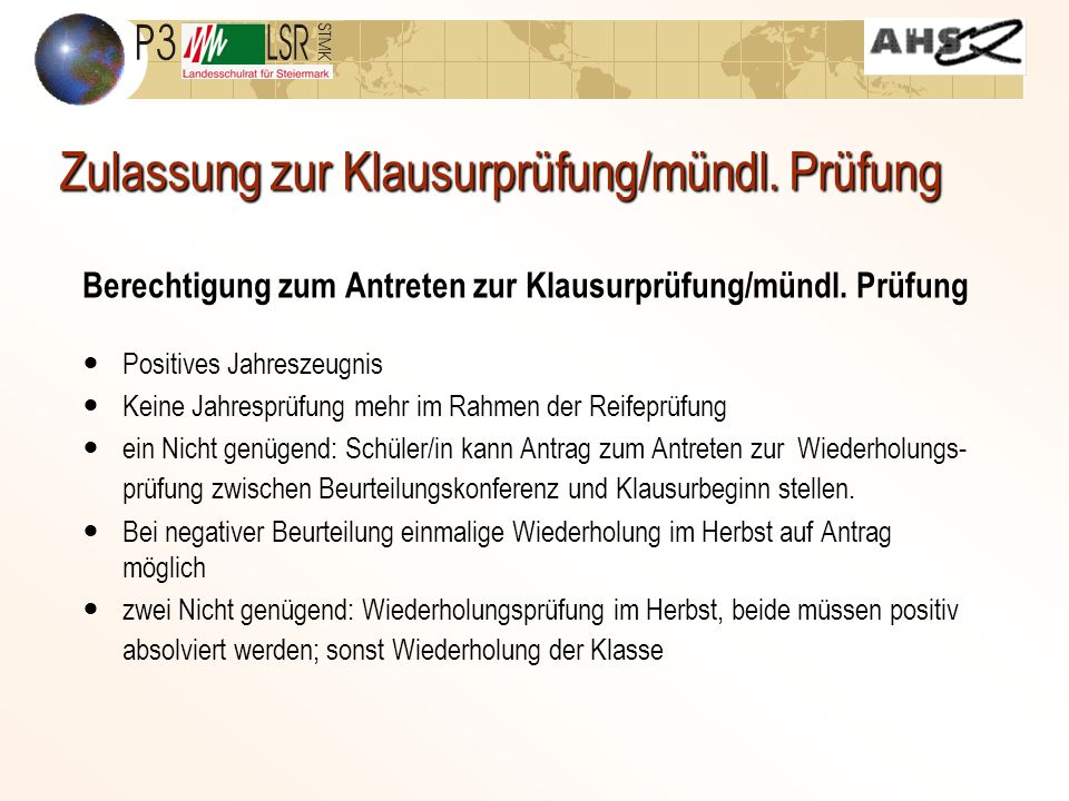 Zulassung zur Klausurprüfung/mündl. Prüfung