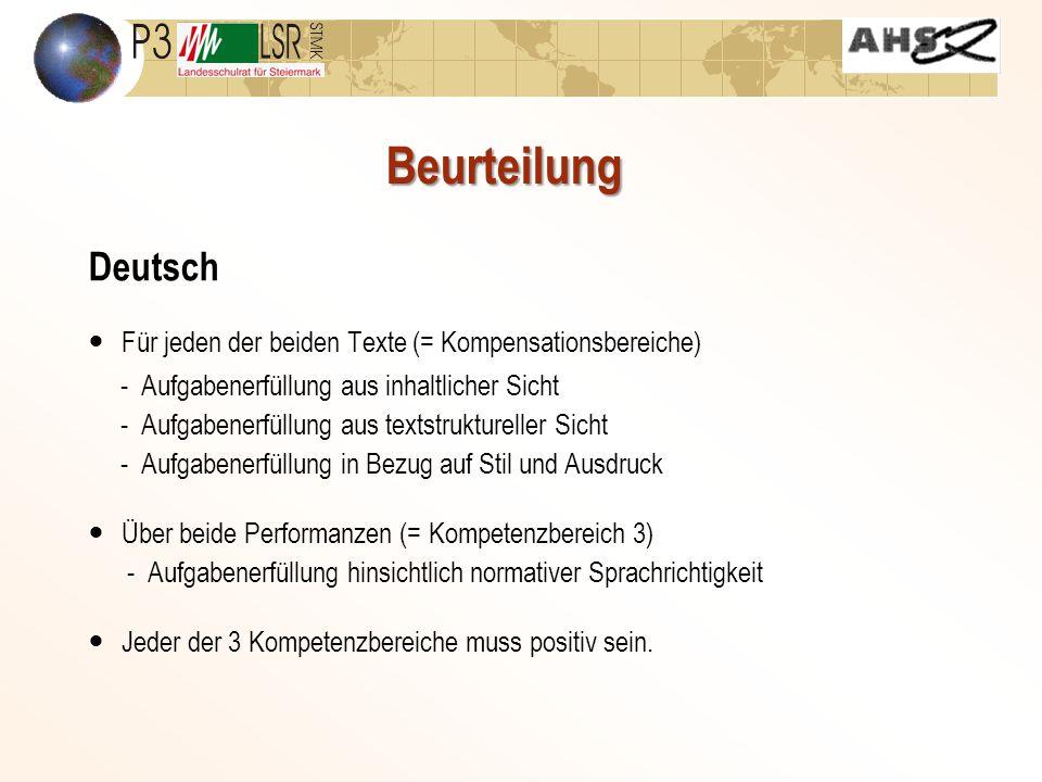 Beurteilung Deutsch. Für jeden der beiden Texte (= Kompensationsbereiche) - Aufgabenerfüllung aus inhaltlicher Sicht.