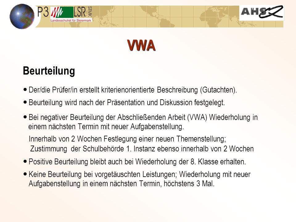 VWA Beurteilung. Der/die Prüfer/in erstellt kriterienorientierte Beschreibung (Gutachten).