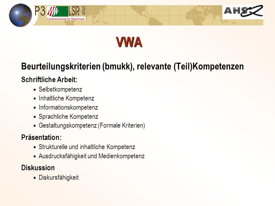 VWA Beurteilungskriterien (bmukk), relevante (Teil)Kompetenzen