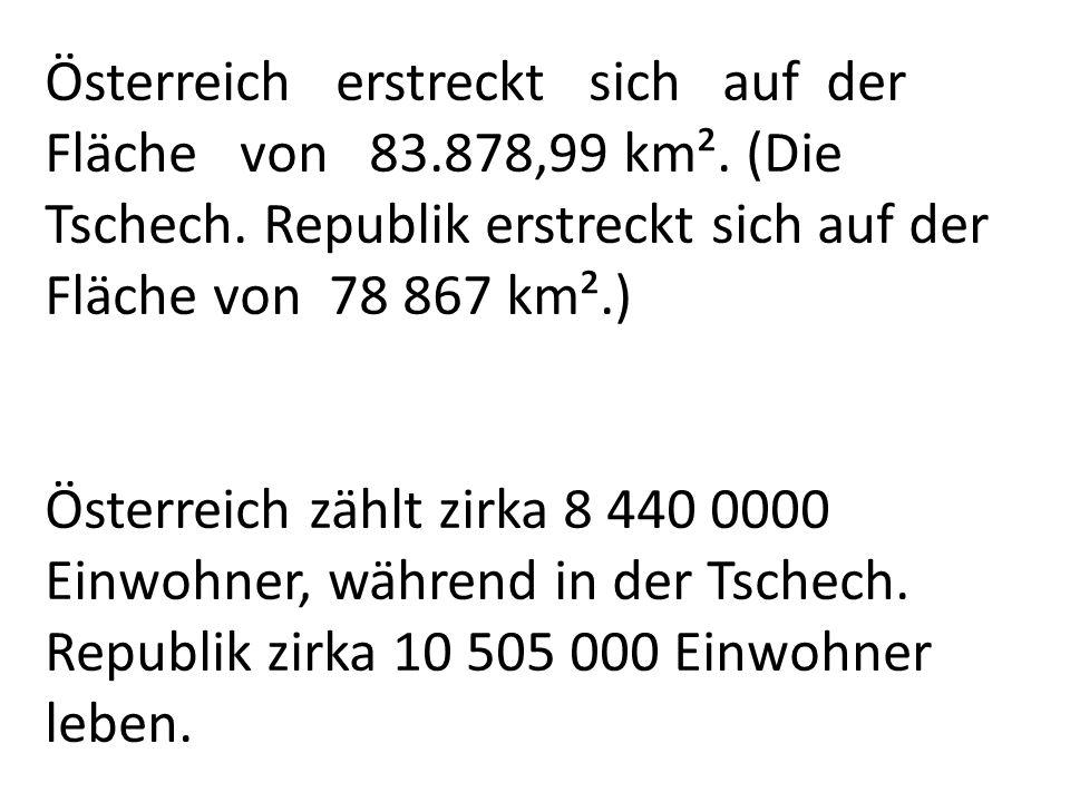 Österreich erstreckt sich auf der Fläche von 83. 878,99 km²