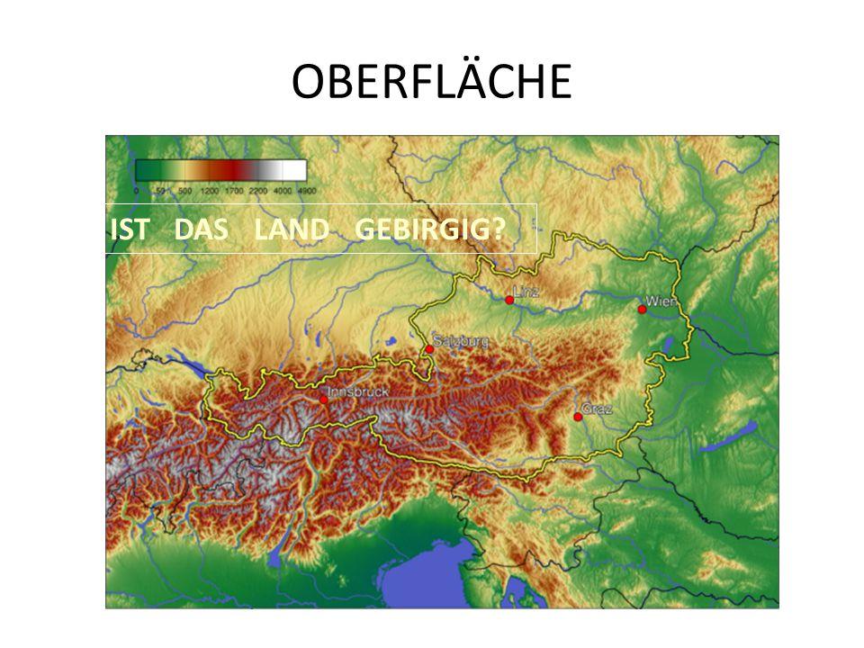 OBERFLÄCHE IST DAS LAND GEBIRGIG