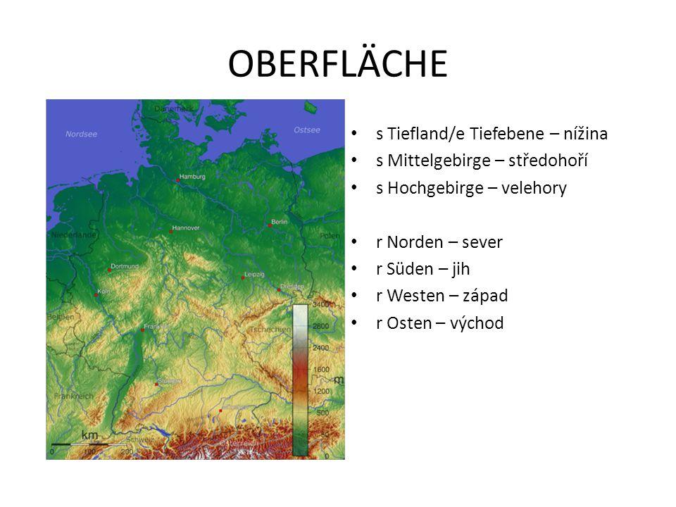 OBERFLÄCHE s Tiefland/e Tiefebene – nížina