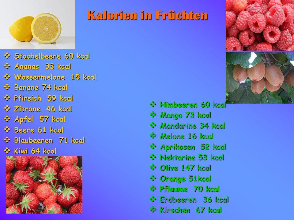 Kalorien in Früchten Stachelbeere 60 kcal Ananas 33 kcal