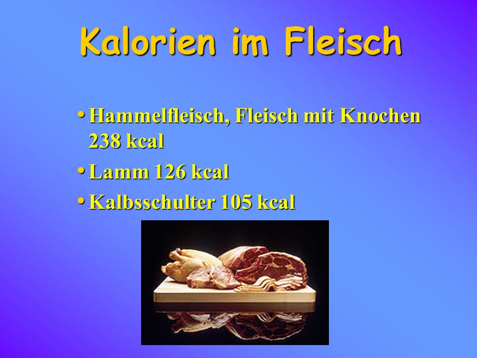 Kalorien im Fleisch Hammelfleisch, Fleisch mit Knochen 238 kcal