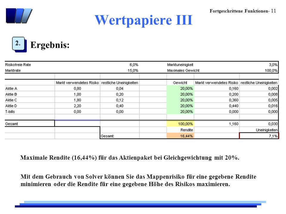 Wertpapiere III Ergebnis: