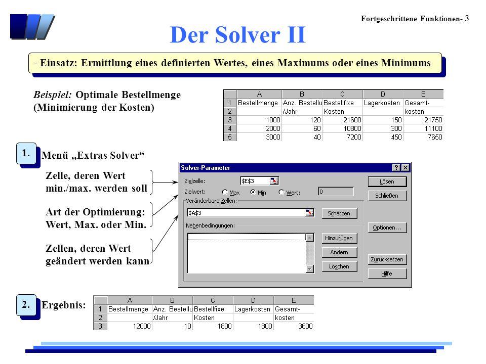 Der Solver II - Einsatz: Ermittlung eines definierten Wertes, eines Maximums oder eines Minimums.