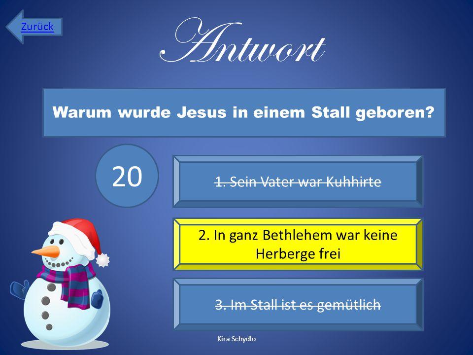 Antwort 20 Warum wurde Jesus in einem Stall geboren