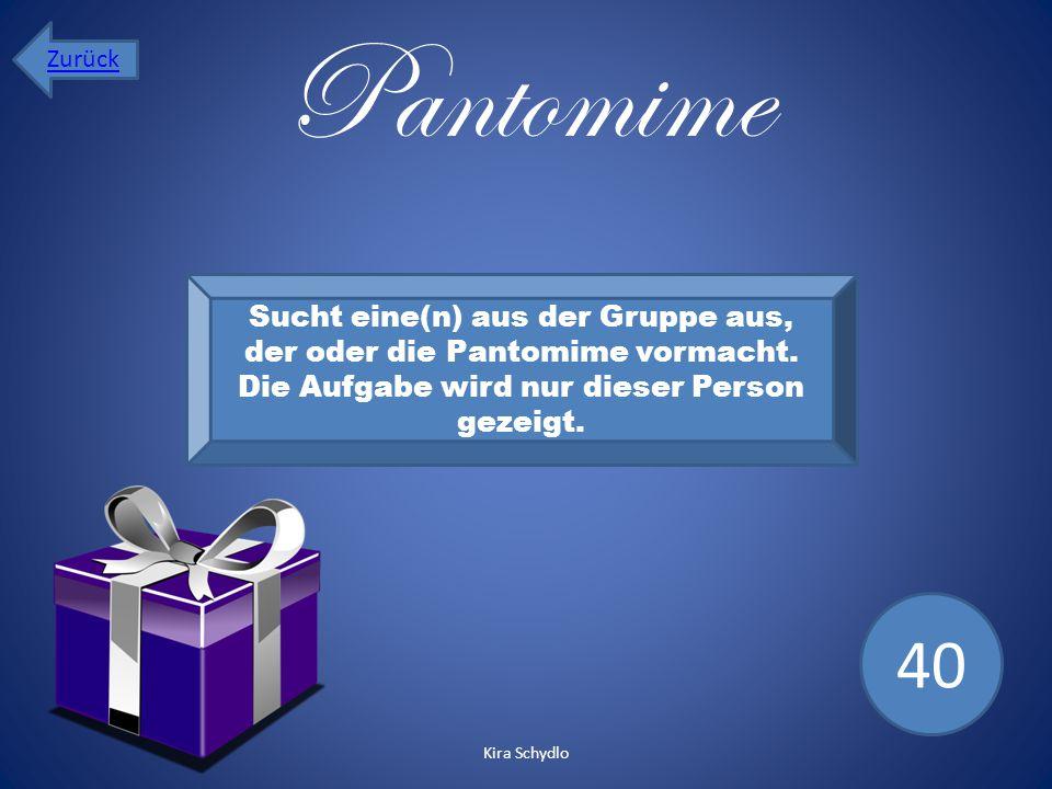 Zurück Pantomime. Sucht eine(n) aus der Gruppe aus, der oder die Pantomime vormacht. Die Aufgabe wird nur dieser Person gezeigt.