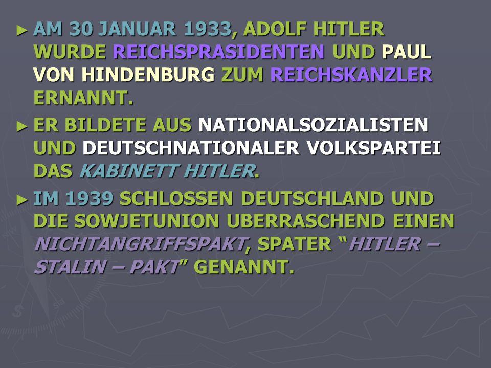 AM 30 JANUAR 1933, ADOLF HITLER WURDE REICHSPRASIDENTEN UND PAUL VON HINDENBURG ZUM REICHSKANZLER ERNANNT.