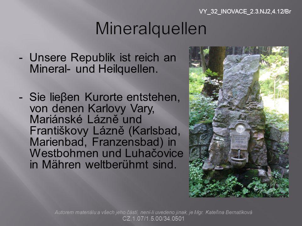 VY_32_INOVACE_2.3.NJ2,4.12/Br Mineralquellen. - Unsere Republik ist reich an Mineral- und Heilquellen.
