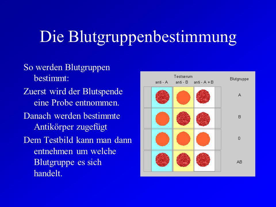Die Blutgruppenbestimmung