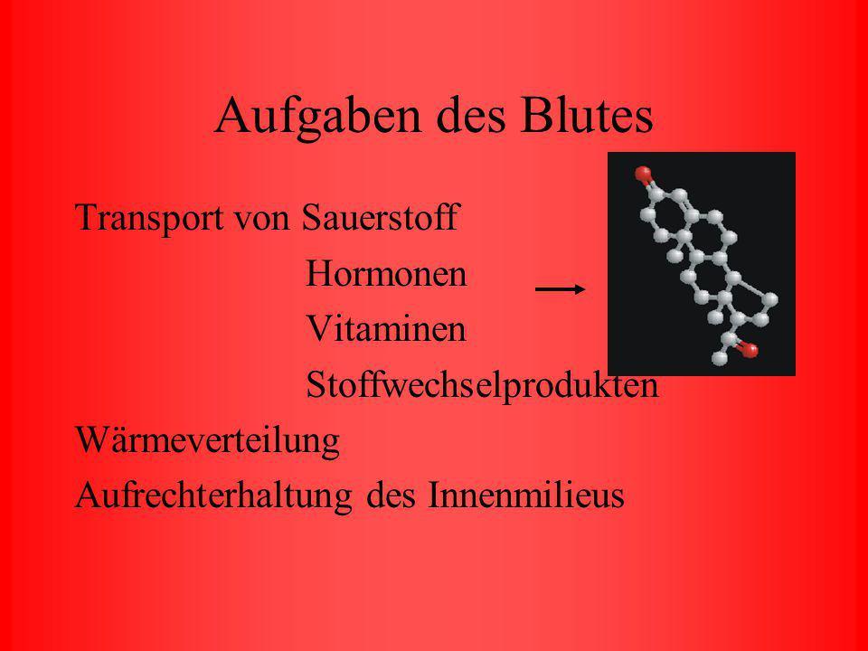 Aufgaben des Blutes Transport von Sauerstoff Hormonen Vitaminen