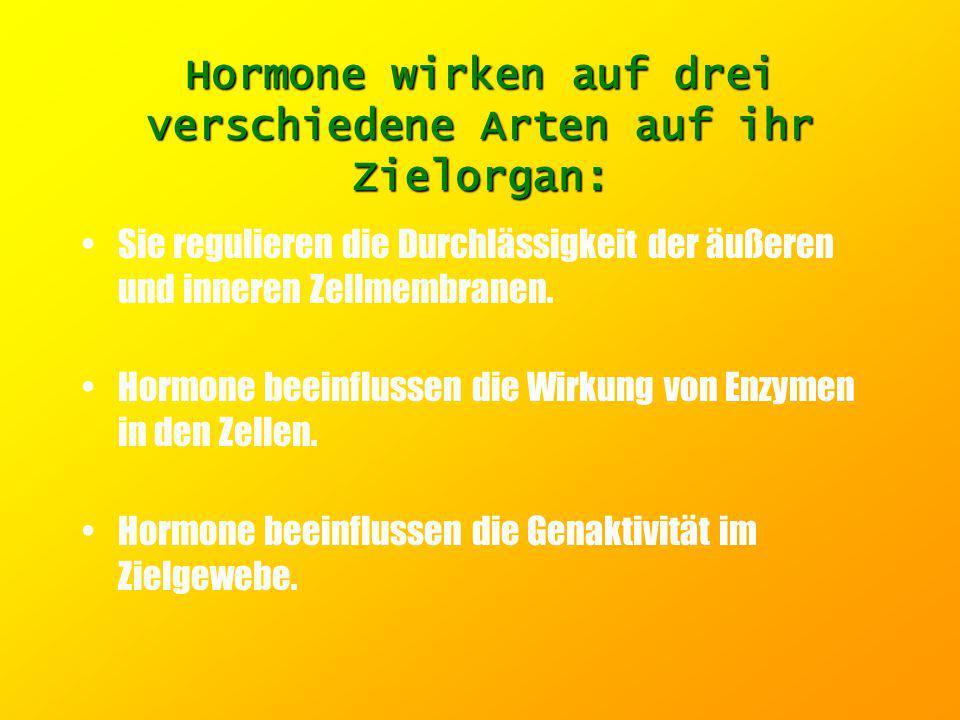 Hormone wirken auf drei verschiedene Arten auf ihr Zielorgan: