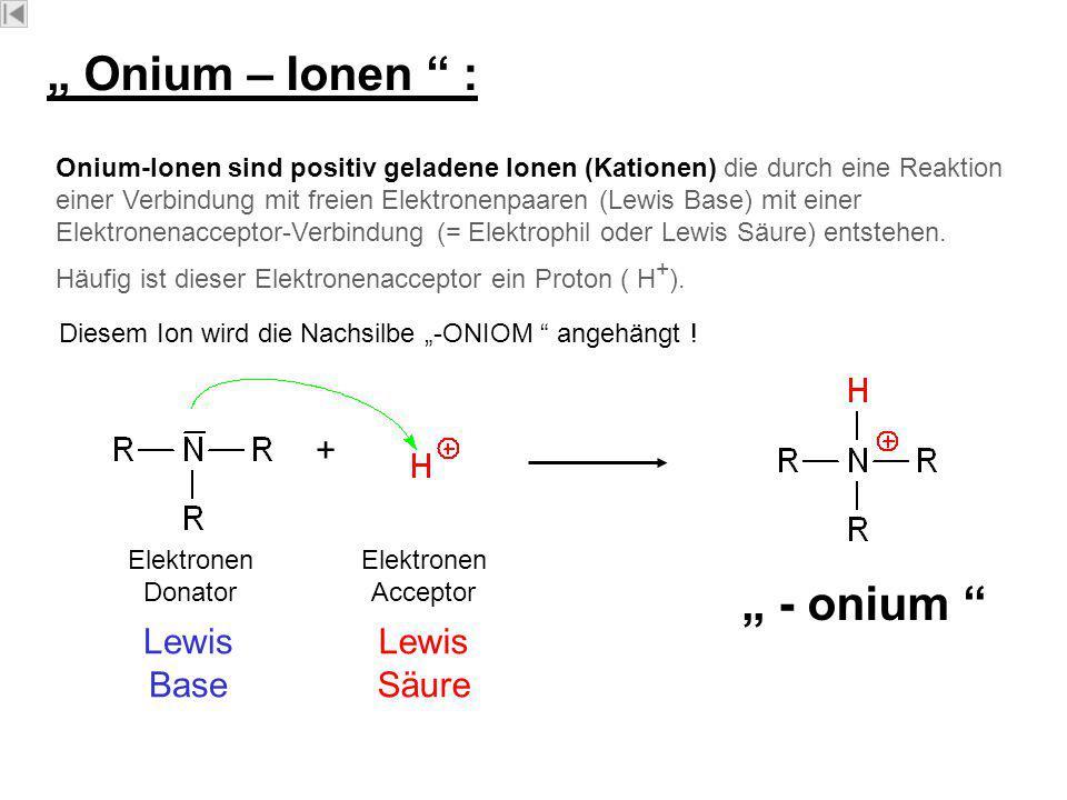 """"""" Onium – Ionen : """" - onium"""