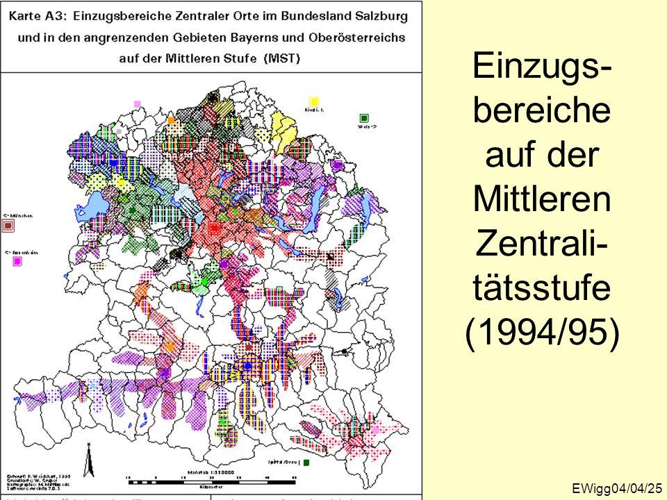 Einzugs-bereiche auf der Mittleren Zentrali-tätsstufe (1994/95)