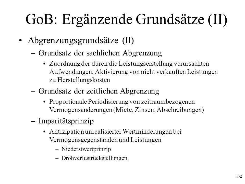 GoB: Ergänzende Grundsätze (II)