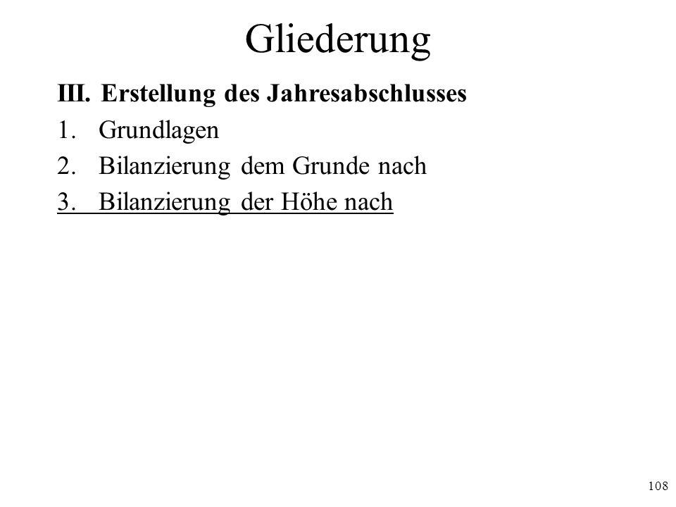 Gliederung III. Erstellung des Jahresabschlusses 1. Grundlagen